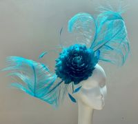 Teal feather fantasy fascinator 16923/SD492
